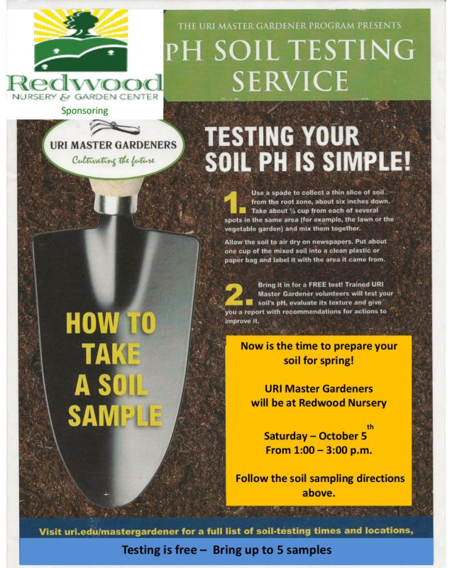 , The URI Master Gardeners Program presents pH Soil Testing Service, Redwood Nursery & Garden Center, Redwood Nursery & Garden Center